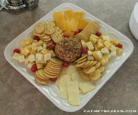 Cheese Cubes, Slices & Cheeseball with Crackers
