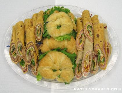 Sandwich Tray: Roast Beef Wraps, Chicken Salad Croissants & Ham & Cheese Wraps