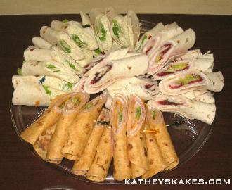 Chicken Salad Wraps, Ham & Cheese Wraps, Turkey with Cranberry Salsa Wraps